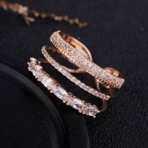 NEW ROSE GOLD PLATED TRIPLE DIAMOND RESIZABLE BAND